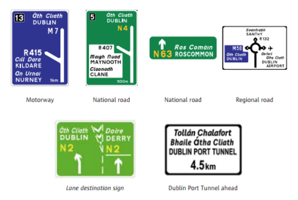 Advance direction signs