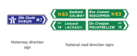 Direction signs at junctions